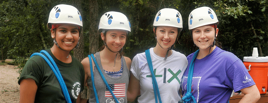 UNC Charlotte students on the high ropes course